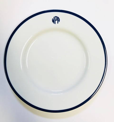 Pickard signature ultra white monogram cobalt salad plate