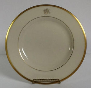 Pickard China Signature Monogram Ivory & Gold Salad Plate