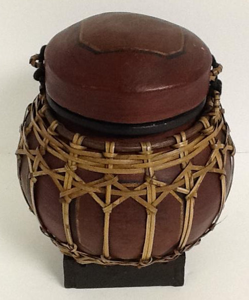 Wood & Bamboo Hand Made Thai Basket Small With Lid