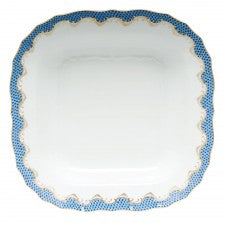 Herend fish scale blue square fruit dish