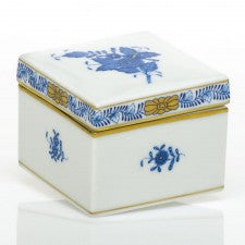 Herend Chinese Bouquet Blue Square Box