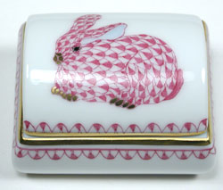 Herend Tooth Fairy Box Bunny Fishnet Pink