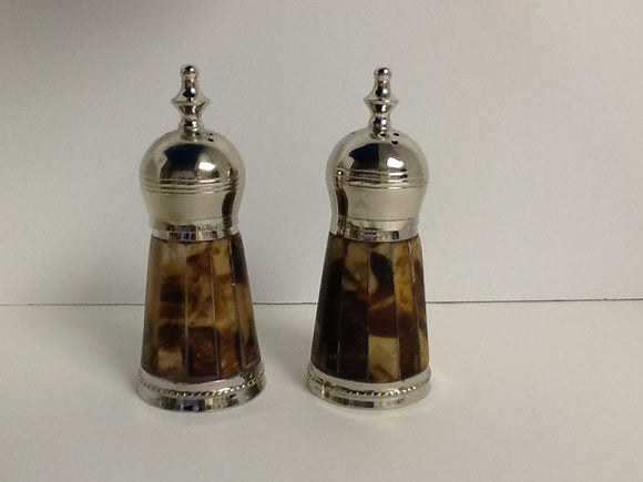 Tortoise Salt & Pepper With Silver Top