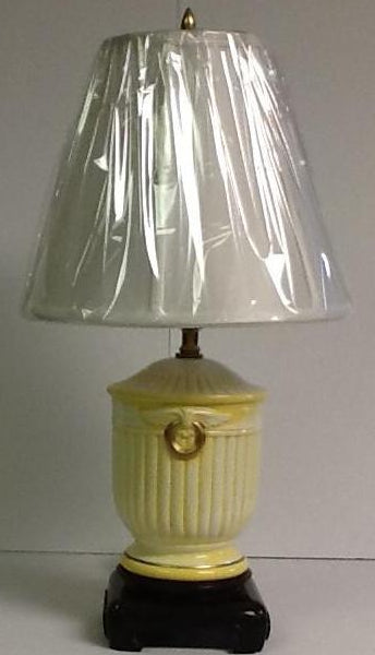 Italian hand painted porcelain yellow lamp