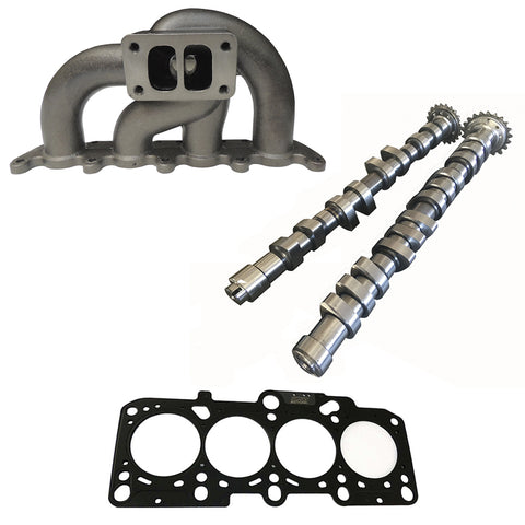 VW/AUDI 1.8L 20V transverse T3 twin scroll turbo manifold  + 252 / 260 performance camshaft set + 2.50mm decompression MLS head gasket