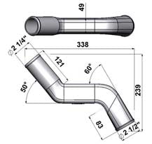 "2.25"" to 2.5"" tight radius narrowed S elbow Intake pipe"