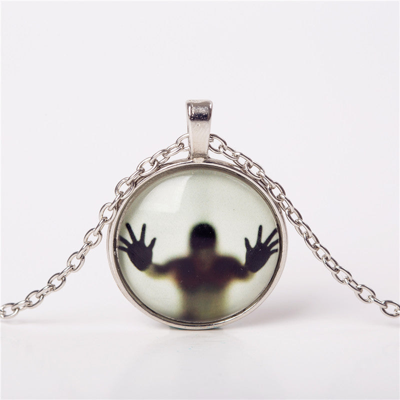 2016 Men Shadow Style Necklace Glass Cabochon Chain Statement