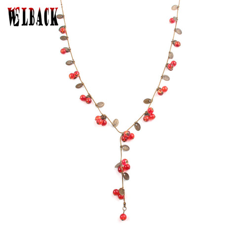 Fashion Bohemia Brand vintage Jewelry for women lovely amorous feelings Cute little cherry long necklace female 2016