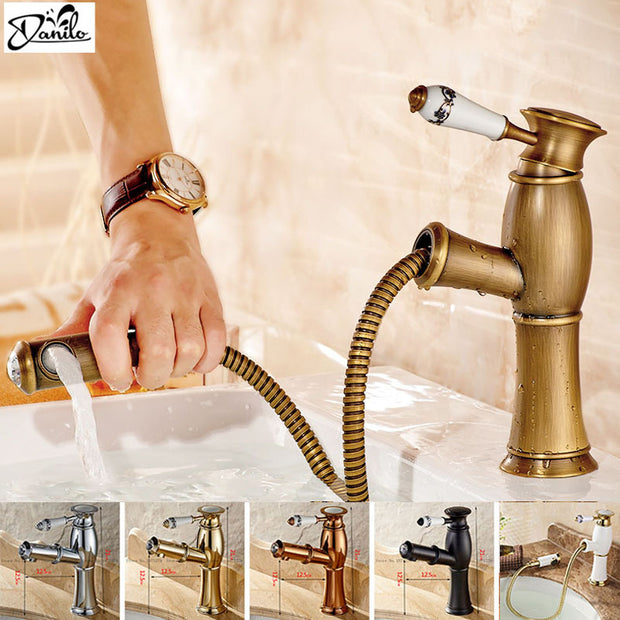 New Pull Out Antique Kitchen Faucet Crystal+ Copper Sink Nickel