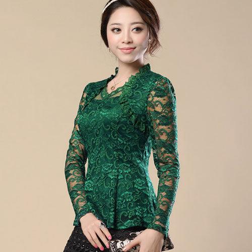 New Fashion 2016 renda blusas femininas Women Lace shirt Hollow lace