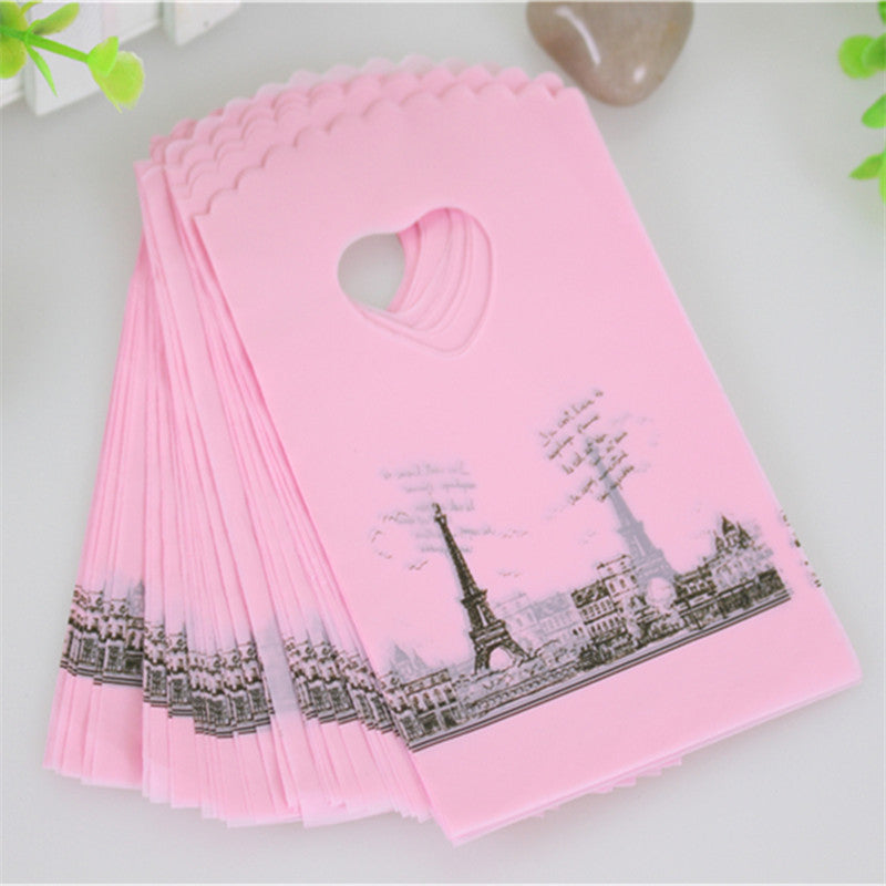 2016 Hot Sale Wholesale 50pcs/lot Pink Eiffel Tower Packaging Bags