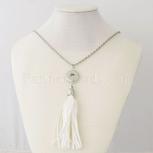 NEW Trendy Ethnic style Tassel Pendant Snap necklace fit DIY 18MM snap