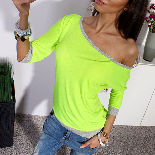 2017 New Spring Sexy Women 3/4 Sleeve Loose Casual Off Shoulder Tees T