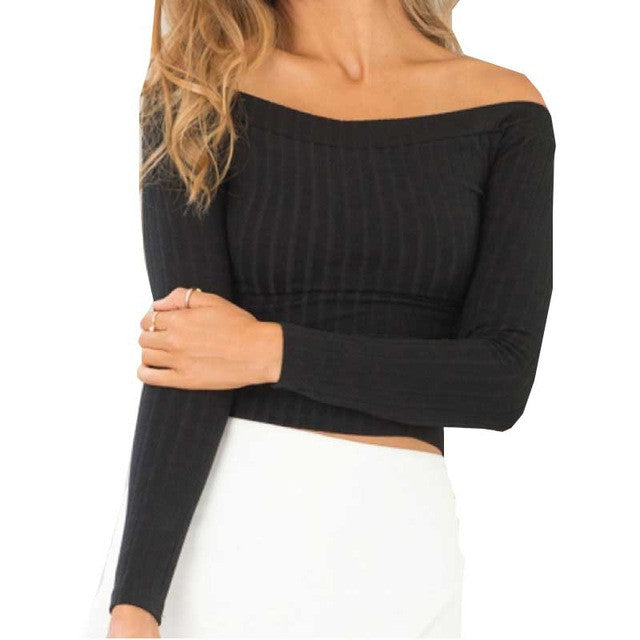 Smoves Sexy Off Shoulder Women Knitted Sweater Tops Autumn Winter