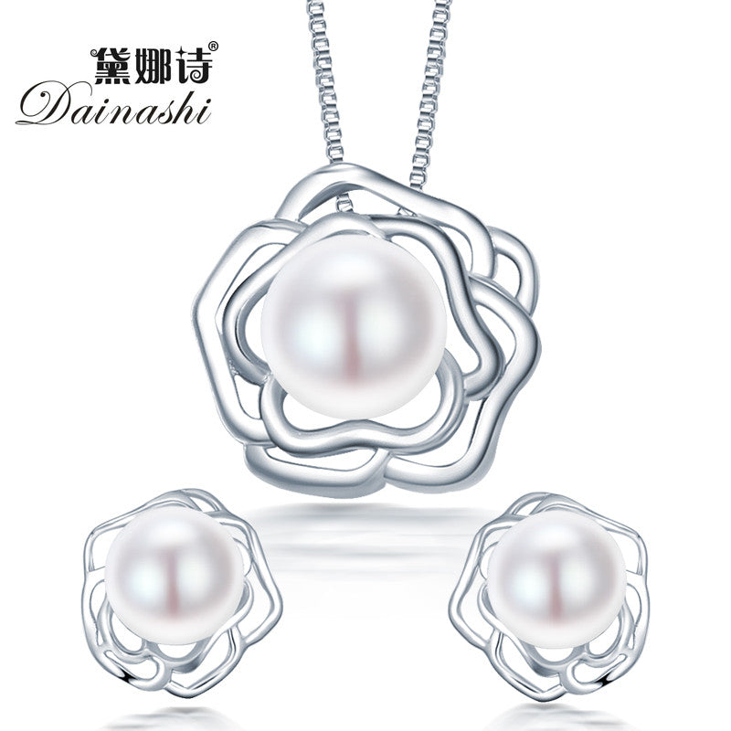 2015 fashion big flower 925 sterling silver jewelry sets pendant &