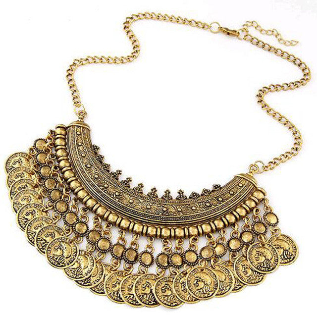 2016 Bohemian Statement Coin Necklaces & Pendants for Women Collier