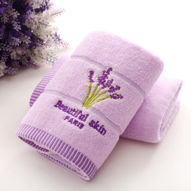 1pcs 33*74cm lavender Flower jacquard Soft Face Towel Cotton Hair Hand