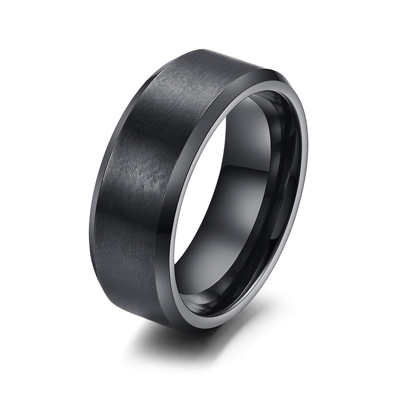 Vnox 316l stainless steel men ring 8mm black & silver & gold-color