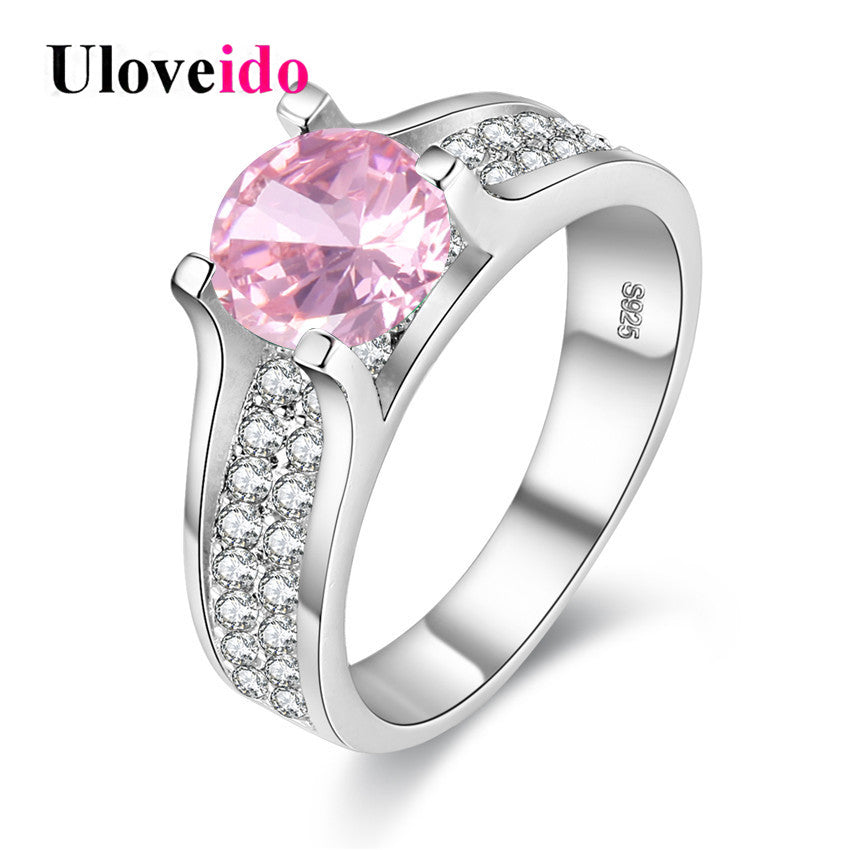 Uloveido Pink Blue Yellow Pave Rings for Women Zirconia Weddings