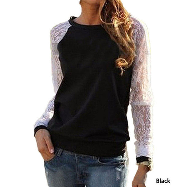 2017 Spring Women Casual Hoodies Sweatshirts Fashion Lace Patchwork