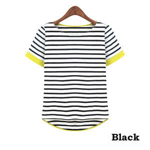 OUMENGKA New Women Tops O-Neck T-Shirt Short Sleeve Striped T Shirts