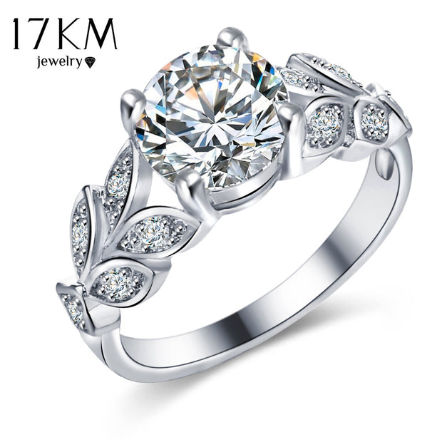 17KM Silver Color Crystal Flower Wedding Rings For Women Jewelry Bague