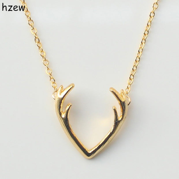 hzew Fashion Deer Horn Antler Necklace Unique Animal Necklace