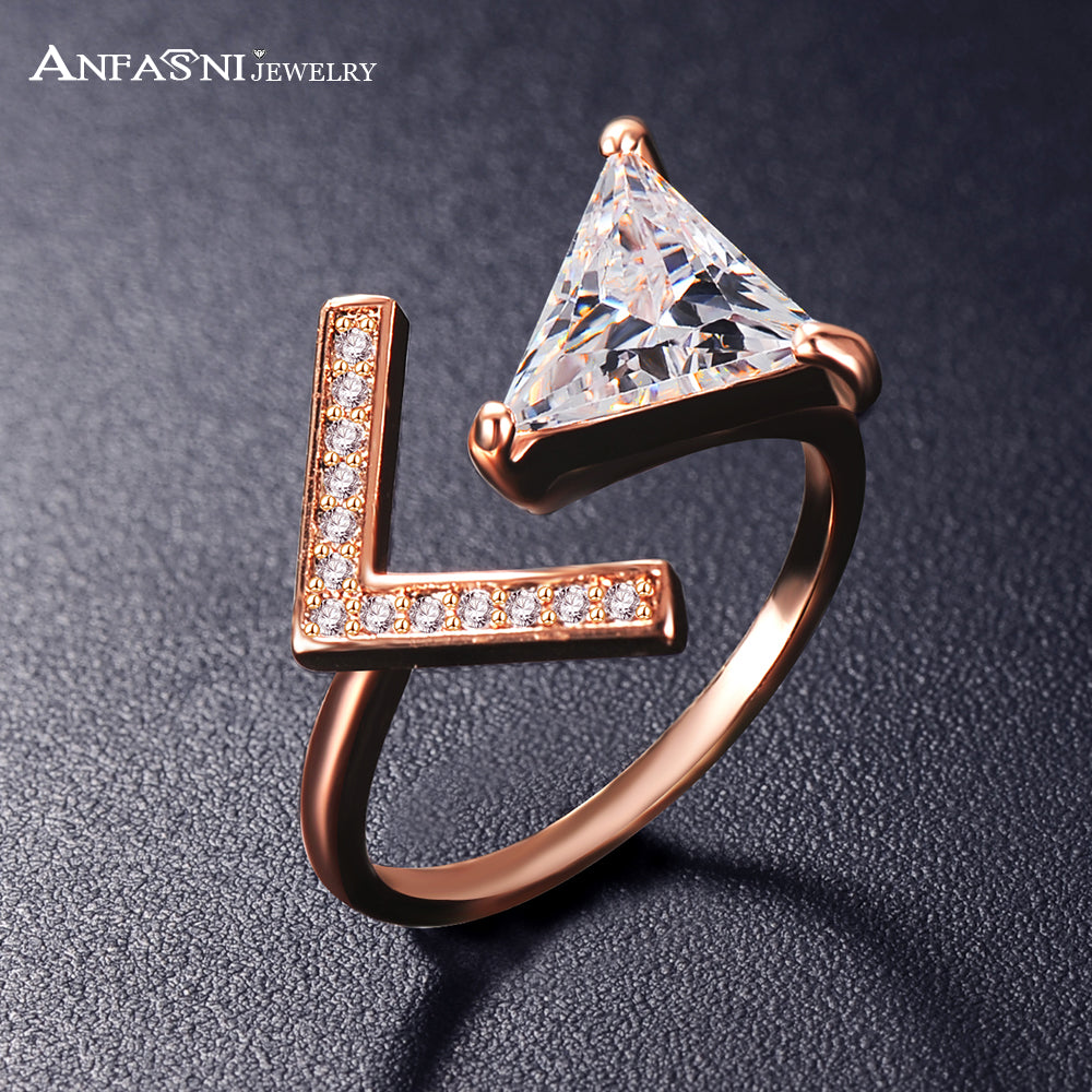 ANFASNI New Arrival  Trendy Two Colors Adjustable Micro Pave Rings