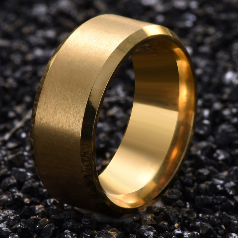 Titanium Steel  Finger Ring Gold Color Ring for Men and Women