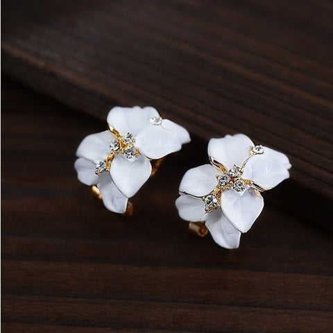 2017 New Hot ! Fashion Fine Jewelry Gold Color Elegant Double Gardenias Flowers Rhinestones Paint Stud Earrings For Women E-161