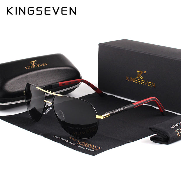 KINGSEVEN Men Vintage Aluminum HD Polarized Sunglasses Classic Brand