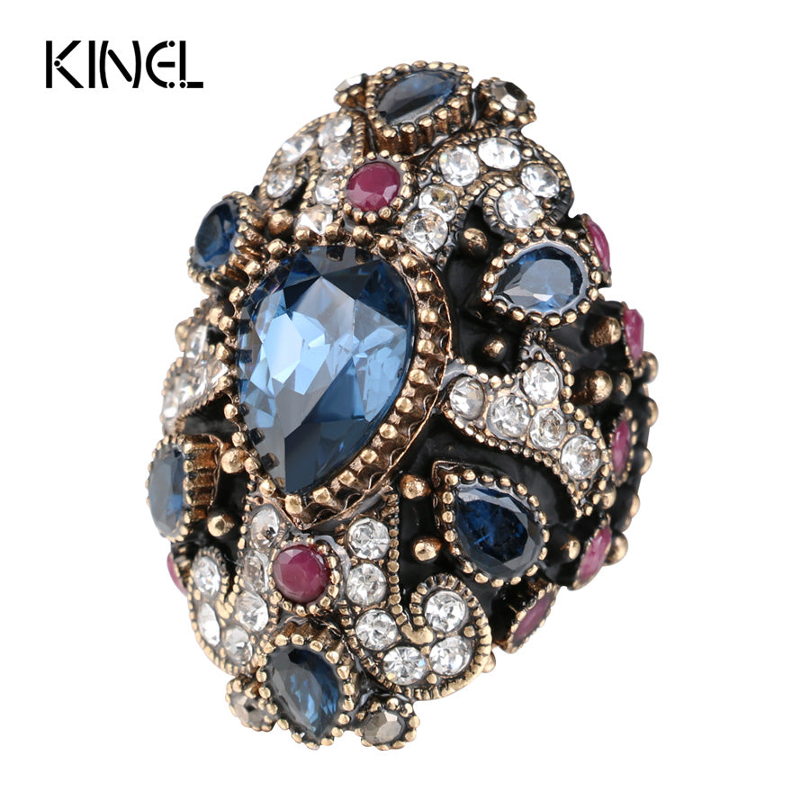 New Unique Cross Vintage Wedding Rings For Women Red Crystal Color