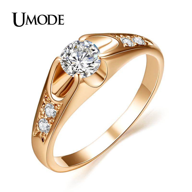 UMODE  Rose Gold Color Mounting anel feminino aneis bijoux 0.5 ct