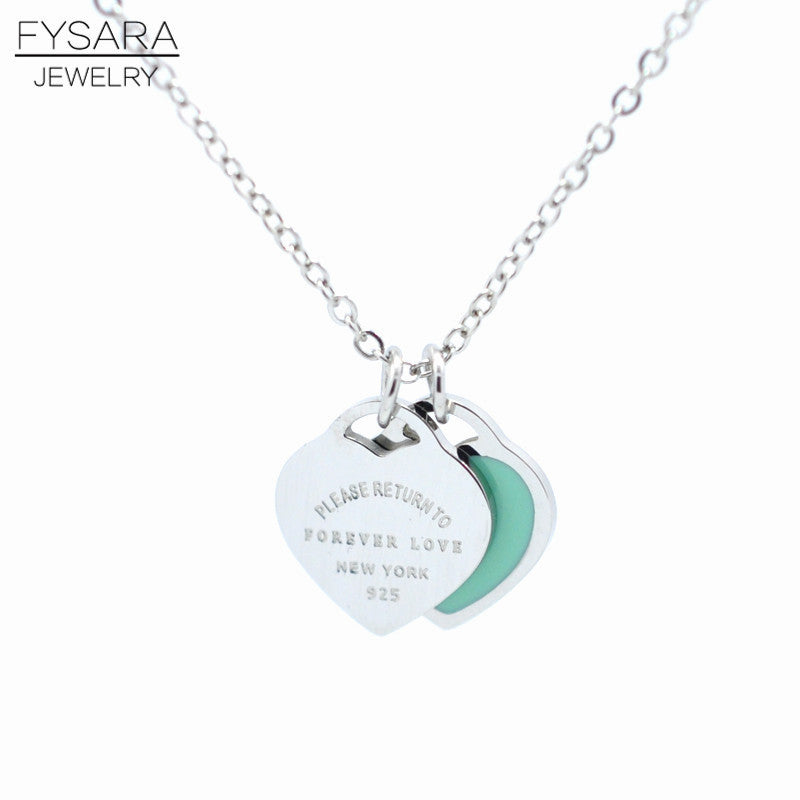 "FYSAFA Brand Resin Green/Pink""FOREVER LOVE""Stamp Pendant Necklace"