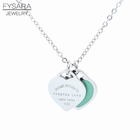 "FYSAFA Brand Resin Green/Pink""FOREVER LOVE""Stamp Pendant Necklace Choker Statement Enamel Double Heart Short Necklace For Women"