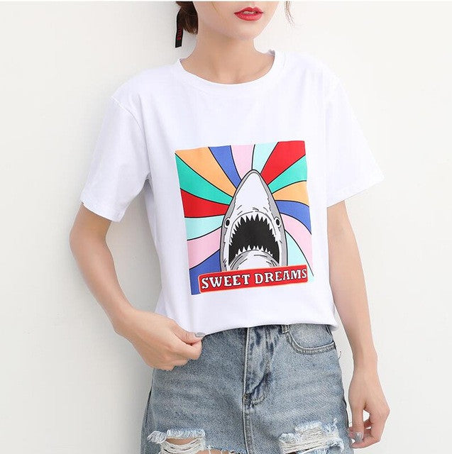 NIJIUDING 2017 New Design 13 Styles Women Casual White T Shirt