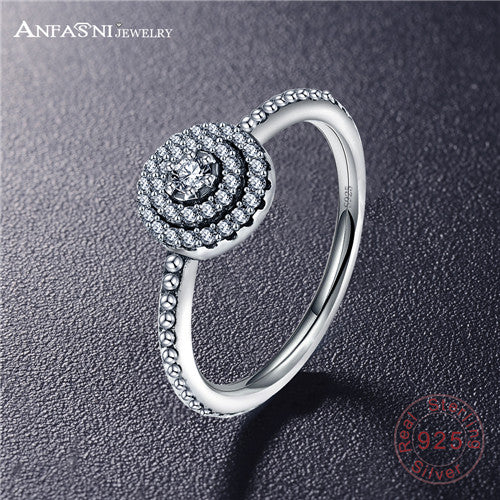 ANFASNI 100% Authentic 925 Sterling Silver Radiant Elegance Rings With