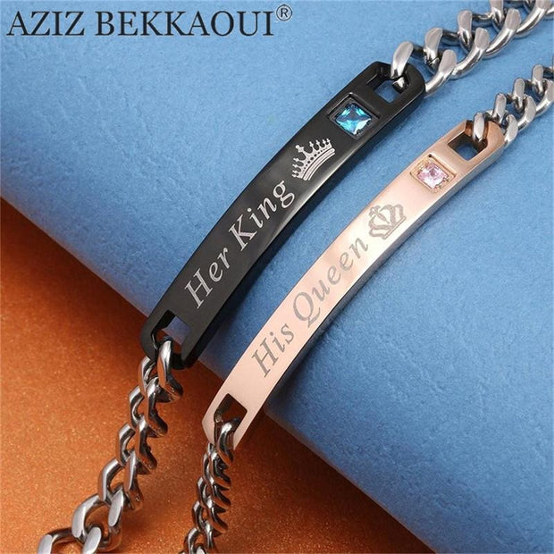AZIZ BEKKAOUI DIY Her King His Queen Couple Bracelets Stainless