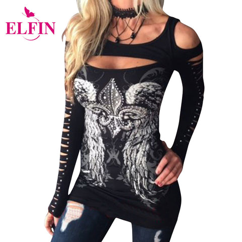2017 Fashion Women Bodycon T-Shirts Long Sleeve Hollow Out Tops Print Wings Tops Tee Casual Hole Harajuku Girls Punk LJ9170R