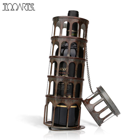 Tooarts Metal Tower Wine Rack Classical Bottle Holder Kitchen Bar Display Iron Wine Holder Home Decoration Accessories
