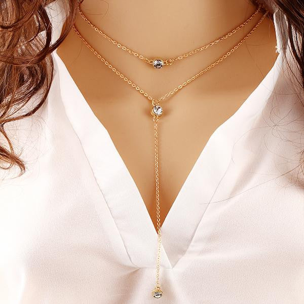 Summer Style Fashion Jewelry Double Link Chain Necklace Alloy Gold