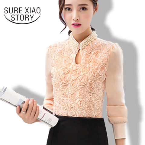 2016 New fashion Women  long sleeved Casual Chiffon blouse Sexy Flower pure elegant stand lace Tops  160E15