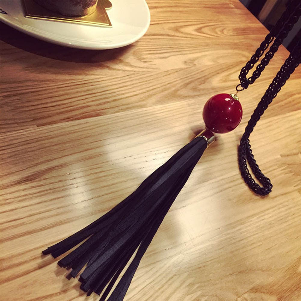 2016 New Fashion Charm Imitation Pearl Pendant Beads Leather Tassels