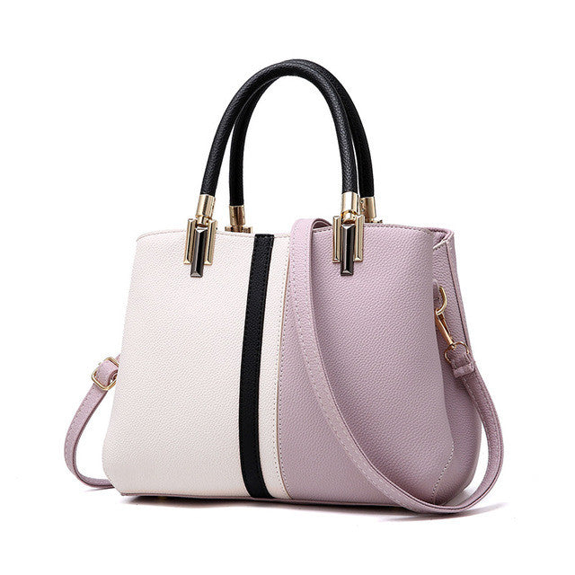 Women PU Leather Handbag Tote Female Stripe Style Bag Zipper High