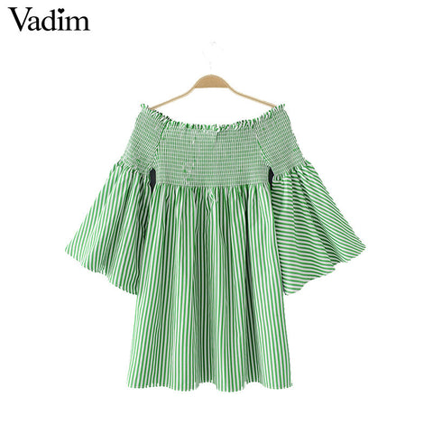 Vadim women sexy off shoulder striped dress slash neck flare sleeve pleated ladies casual brand mini dresses vestidos QZ3100