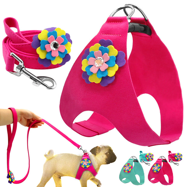 Soft Suede Leather Dog Puppy Cat Pet Harness Leash Lead Set For