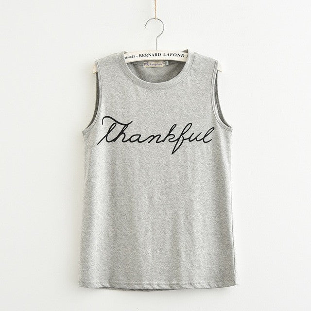 [100% Cotton] 2017 Summer T-Shirt New Fashion Letter Print Thankful