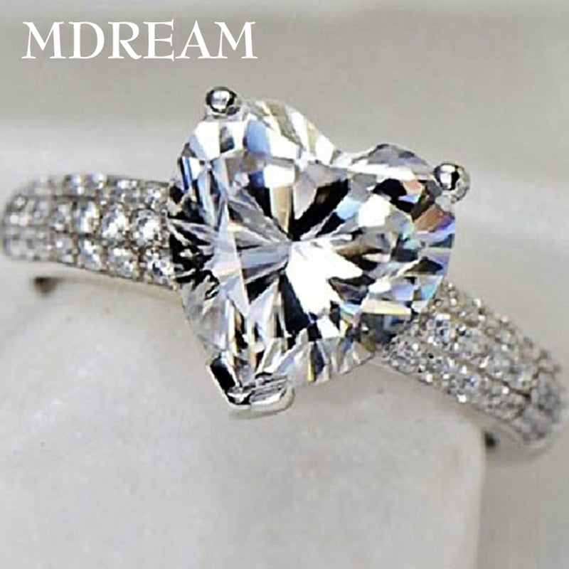 silver Color ring with 3 Carat AAA zircon for women wedding fashion