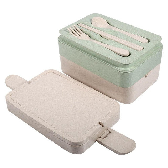 2/3 Layers Portable Wheat Straw Bento Food Storage Container With Soup