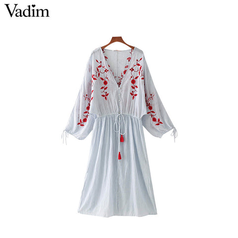 Vadim women V neck floral embroidery striped dress tassel drawstring tie pleated ladies casual brand dresses vestidos QZ3115